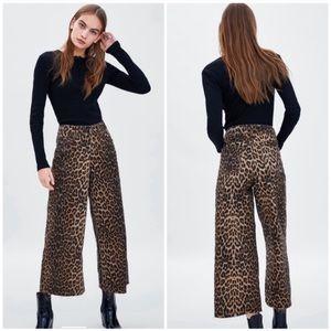 Zara mid rise culotte jeans in leopard